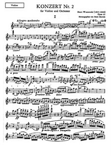 Concerto for Violin and Orchestra No.2, Op.22: Solo part by Henryk Wieniawski