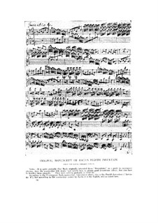 No.8 in F Major, BWV 779: For organ (Manuscript) by Johann Sebastian Bach