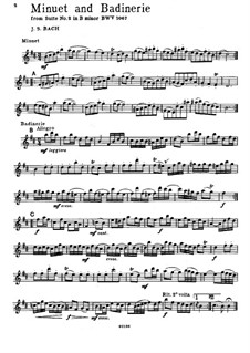 Orchestral Suite No.2 in B Minor, BWV 1067: Minuet and Badinerie. Version for volin and piano – solo part by Johann Sebastian Bach