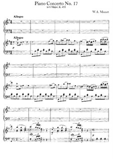 Concerto for Piano and Orchestra No.17 in G Major, K.453: Arrangement for two pianos four hands by Wolfgang Amadeus Mozart