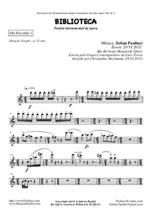 Partita of Biblioteca (Library), symphonic poem (2011): Set of parts by Zoltan Paulinyi
