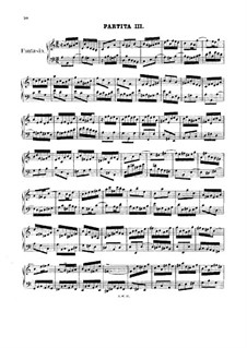 Partita for Keyboard No.3 in A Minor, BWV 827: For a single performer by Johann Sebastian Bach