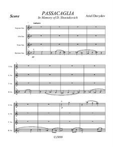 Saxophone Quartet No.2, Passacaglia: Saxophone Quartet No.2, Passacaglia by Ariel Davydov