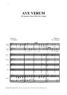 Ave verum corpus (Canon): Ave verum corpus (Canon) by Wolfgang Amadeus Mozart, Renato Tagliabue