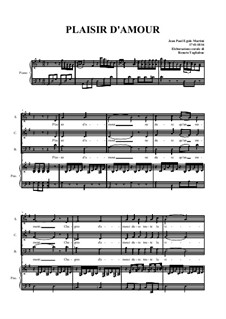 Plaisir d'Amour (The Joys of Love): For choir and piano by Jean Paul Egide Martini