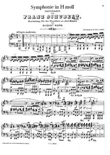 Symphony No.8 in B Minor 'Unfinished', D.759: Arrangement for piano by Franz Schubert