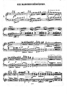 Six Grandes Marches, D.819 Op.40: For piano by Franz Schubert