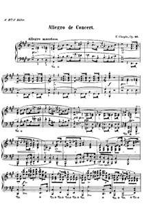 Allegro de concert, Op.46: For piano (with fingering) by Frédéric Chopin