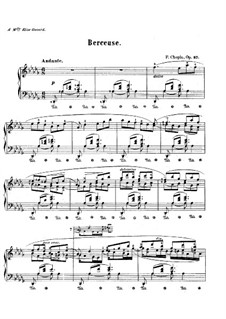 Lullaby in D Flat Major, Op.57: For piano by Frédéric Chopin
