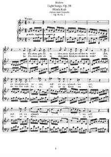 Eight Songs, Op.58: Complete set by Johannes Brahms