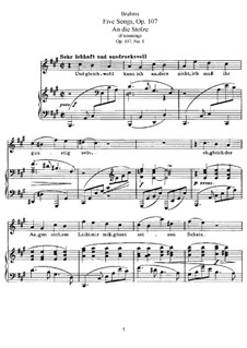 Five Songs, Op.107: Complete set by Johannes Brahms