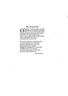 Oh Promise Me, Op.50: For voice and piano by Reginald De Koven