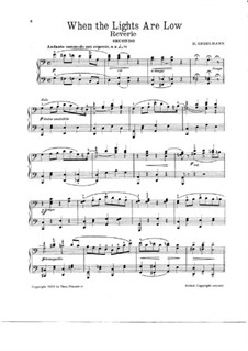 When the Lights are Low, for Piano Four Hands: When the Lights are Low, for Piano Four Hands by Hans Engelmann