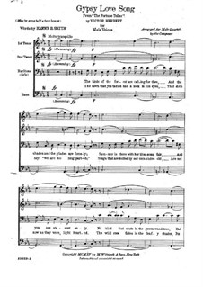 The Fortune Teller: Gypsy love song, for male quartet by Victor Herbert