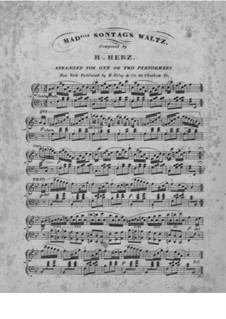 Mad. Sontag's Celebrated Waltz: For piano four hands by Henri Herz