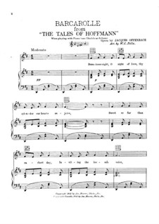 Barcarole: Version for voice and piano by Jacques Offenbach