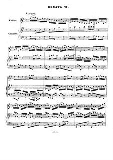 Sonata for Violin and Harpsichord No.6 in G Major, BWV 1019: Score by Johann Sebastian Bach
