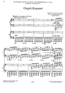 Concerto for Organ and Orchestra in D Minor: Version for two pianos four hands by Wilhelm Friedemann Bach