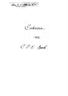 Cadenzas to Concertos: Cadenzas to Concertos by Carl Philipp Emanuel Bach
