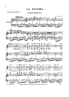 La Paloma (The Dove): Piano-vocal score by Sebastián Yradier