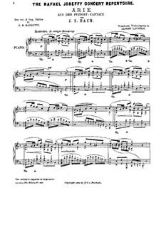 Pentecost Cantata: Aria, for Piano by Johann Sebastian Bach