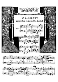 Quintet for Clarinet and Strings in A Major, K.581: Movement II. Arrangement for piano by Wolfgang Amadeus Mozart
