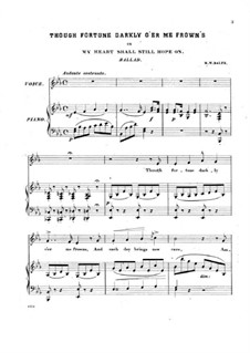 The Rose of Castille: Act II, Though Fortune Darkly o'er Me Frown's, for Voice and Piano by Michael William Balfe