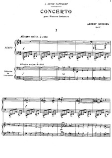 Piano Concerto, Op.36: Version for two pianos four hands by Albert Roussel