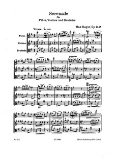 Serenade for Flute, Violin and Viola in G Major, Op.141a: Full score by Max Reger