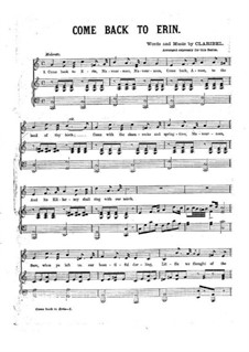 Come Back to Erin: Piano-vocal score by Claribel