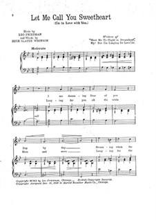 Let Me Call You Sweetheart: Piano-vocal score by Leo Friedman