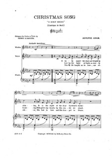 O Holy Night (Piano-vocal score): For violin (or cello), voice and piano by Adolphe Adam