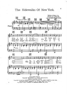 The Sidewalks of New York: For voice and piano by Charles B. Lawlor