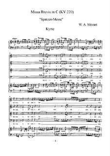 Mass No.9 in C Major (Missa brevis No.5) 'Sparrow', K.220: For voices and piano by Wolfgang Amadeus Mozart