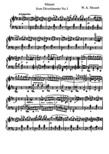 Divertissement No.17 in D Major, K.334: Minuet, for piano by Wolfgang Amadeus Mozart