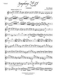 Symphony No.25 in G Minor, K.183: Movement I. Arrangement for string quartet by Wolfgang Amadeus Mozart