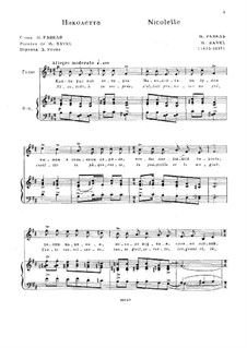 Three Songs, M.69: No.1 Nicolette by Maurice Ravel