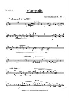 Metropolis: Clarinet part by Vince Peterson