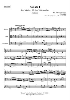 Trio Sonata for Violin, Viola and Cello (or Bassoon) No.1 in C Minor: Urtext, full score and parts by Johann Georg Albrechtsberger