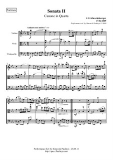 Trio Sonata for Violin, Viola and Cello (or Bassoon) No.2 in E Flat Major: Performance edition, full score and parts by Johann Georg Albrechtsberger