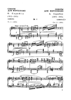 Sonata for Piano No.1, Op.6: For a single performer by Alexander Scriabin