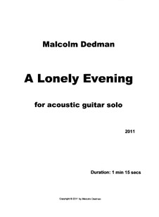 A Lonely Evening, MMS22: A Lonely Evening by Malcolm Dedman