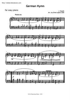 Austrian National Hymn, Hob.XXVIa/43: For easy piano by Joseph Haydn