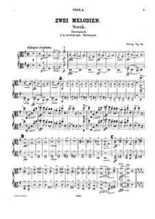 Two Melodies for String Orchestra, Op.53: Violas parts by Edvard Grieg