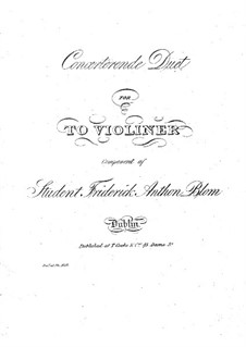 Concert Duo for Two Violins: Concert Duo for Two Violins by John Blow