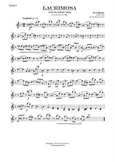 Lacrimosa: For string quartet – parts by Wolfgang Amadeus Mozart