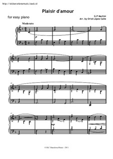 Plaisir d'Amour (The Joys of Love): For easy piano by Jean Paul Egide Martini