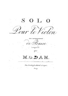 Solo for Violin and Double Bass Accompaniment: Solo for Violin and Double Bass Accompaniment by M.G. Dam