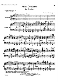 Complete Concerto: Version for two pianos four hands by Frédéric Chopin
