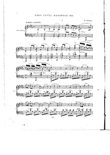 The Bohemian Girl: Act III, Then You'll Remember Me, for Piano by Michael William Balfe